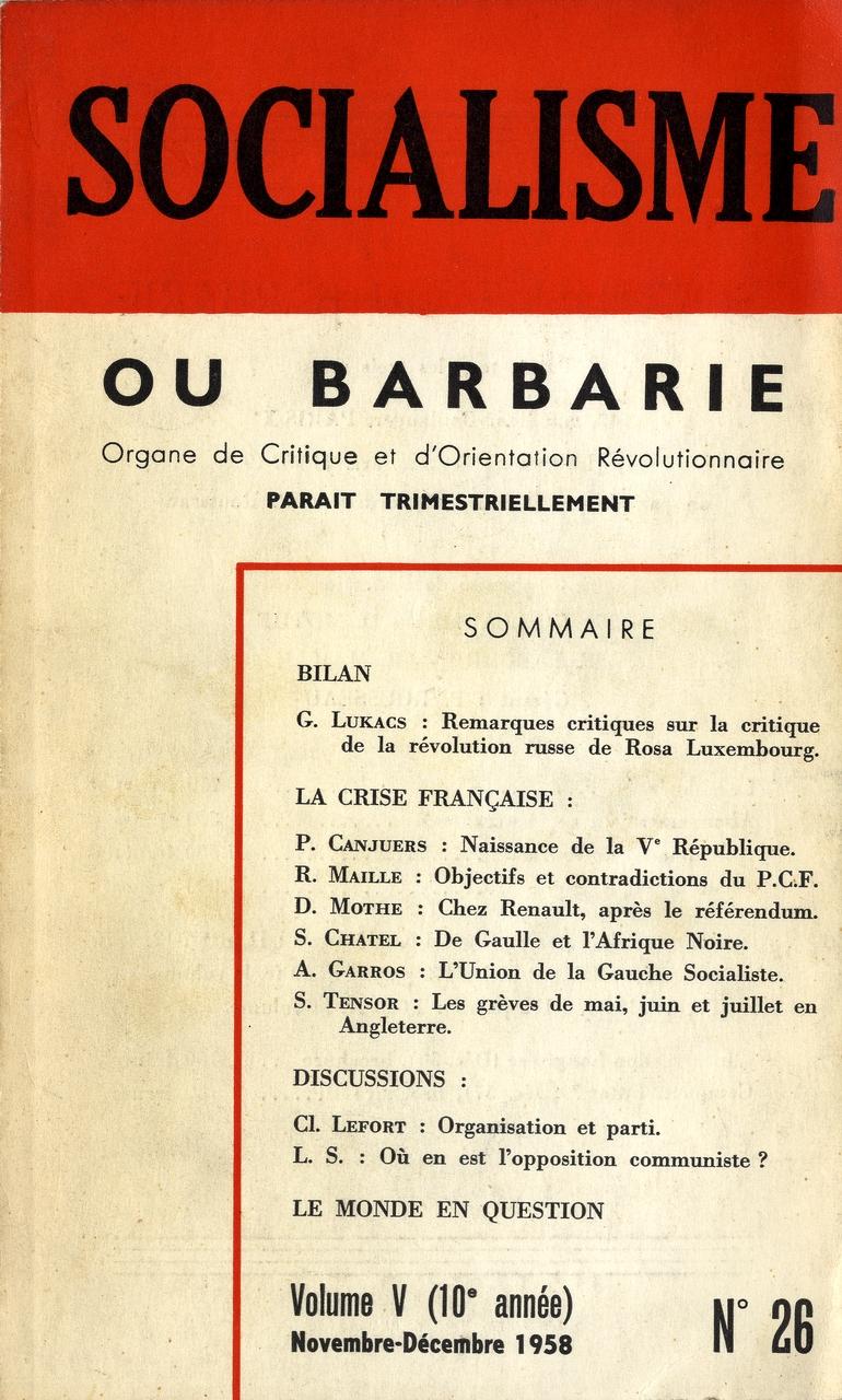 image for Socialisme ou barbarie / Daniel Mothé